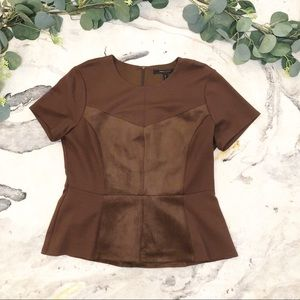 BCBG Maxazria | Brown Peplum Top